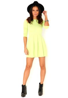 Gabriele Cut Out Shoulder Skater Dress In Acid Green // for london?