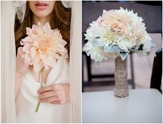 Dinner plate dahlia and dusty miller bouquet