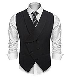 1cd07bcfec3 Coofandy Men s Plaid Slim Fit Double Breasted Dress Suit Button Down Vest  Waistcoat