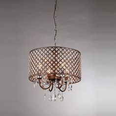 The Warehouse of Tiffany Alexia Chandelier features a perforated metal drum shade dotted with faceted crystals. Handsome in the dining room or. Semi Flush Ceiling Lights, Chandelier Ceiling Lights, Chandelier Shades, Chandelier Lighting, Chandeliers, Bedroom Lighting, Ceiling Lamp, Tiffany Chandelier, Bronze Chandelier