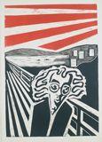 "Tom Gundersen ""Dag Solstad (etter Munch)"" linosnitt"