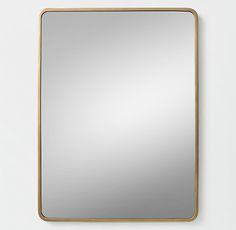 27.75 x 37H 50lb $434 RH TEEN Minimalist Metal-Wrapped Dresser Mirror - Brass