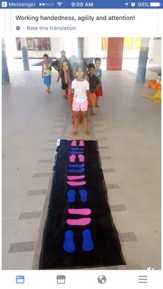 Footprint floor mat. Use as example of coding and to work on agility, balance, coordination, etc.