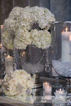 Sparkle + Crystal + White Wedding Theme   San Diego Wedding Florist - Jennifer Cole Florals