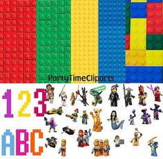 LEGO - 10 papers + 80 character clipart - lego alphabet  clipart -Digital Scrapbooking Paper - Commercial Use