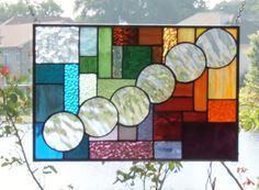 stained glass window panel rainbow bubbles and squares