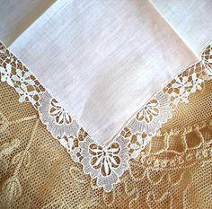 Vintage Handkerchief 1950's White Crochet by FranciesFare on Etsy