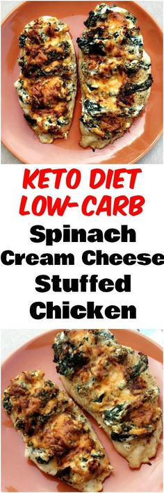 Easy Low-Carb Keto Spinach Cream Stuffed Chicken is a quick recipe that is low in calories and low-fat. This recipe only uses five ingredients: chicken breasts, vitamin-rich spinach, reduced-fat cream cheese, cheddar, and paprika. This dish is perfect for Atkins for keto diets and ketosis diets. #Keto #LowCarb #KetoDiet #LowCarbDiet #Chicken #StuffedChicken
