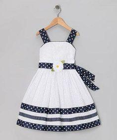 Sweet Heart Rose White & Navy Eyelet Dress - Girls Plus Toddler Girl Dresses, Toddler Outfits, Kids Outfits, Toddler Girls, Kids Girls, Fashion Mode, Kids Fashion, Trendy Fashion, Style Fashion