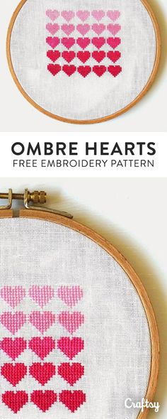 We absolutely love this ombre heart embroidery! Get the free beginner pattern at Craftsy!