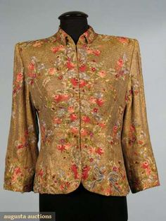 Augusta Auctions, October 2008 Vintage Clothing & Textile Auction, Lot 891: Gold Lame Evening Jacket, 1940s