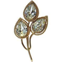 Napier Teardrop Crystal Leaves Brooch ~ Book Piece