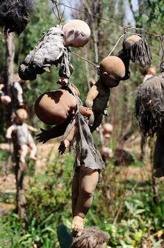 doll island Mexico Xochimilco  Julian Santana su dueño por miedo a que le mataran lleno todo de muñecas pero al final apareció muerto en el lago cuentan que fue las muñecas quien le mataron