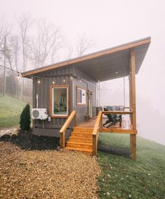 Tiny Shipping Container House On The Cliffs - Dream Tiny Living Tiny House Big Living, Small House Plans, Tree House Designs, Tiny House Design, Tiny Container House, Tyni House, Container Buildings, Cabin Homes, House Styles