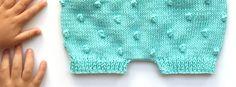 Pantaloncito de punto popcorn a dos agujas - Cubrepañal DIY
