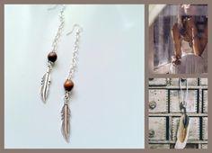 Gypsy / Boho Brown  Turquoise Dangle Earrings boho by Arielior