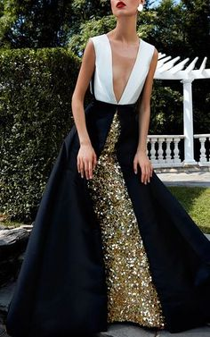 This **Elizabeth Kennedy** Gold Embroidered Underskirt with Bi-colored Over Dress features a deep V neckline, high rise waistline, an embroidered sequin underskirt, and a full length overlay. - dresses, black, plus size, fashion, graduation, quinceanera dress *ad