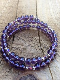 Purple wrap memory wire bracelet featuring two by Fleetbeads