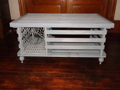 """handmade """"navy blue"""" wooden lobster trap coffee table made in"""