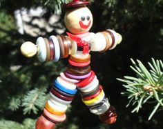 Button Doll Christmas Tree Ornaments Smiley Faces