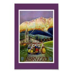 Poster de viagens Abrvzzo Italia do vintage por Zazzle_Vintage