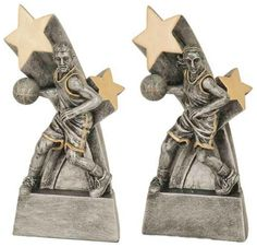 Antiqued silver with gold accents, an elegantly designed one-piece resin trophy - Male & Female styles available Includes a plate with 3 lines of personalized engraving. 30 characters/spaces per line. Basketball Trophies, Gold Accents, All Star, Antique Silver, How To Memorize Things, Resin, Plate, Characters, Spaces