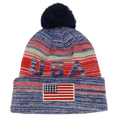 newest collection 82958 d6284 USA American Flag Embroidered Pom Pom Thick Knitted Beanie - HEATHER  GREY(WB074)