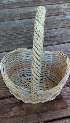 Woven Vintage Basket French Wicker and Rope Basket Natural Color with High…