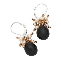 Whamond Sterling Silver And Whitby Jet pearl Bead Drop Earrings E1513 | W Hamond - The Original Whitby Jet Store Est.1860