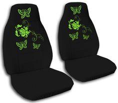 SPECIAL SET* black car seat covers w/green butterflies on eBay!