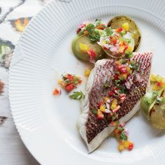 Snapper with Charred Tomatillos and Pepper Salsa | Food & Wine Try with R15