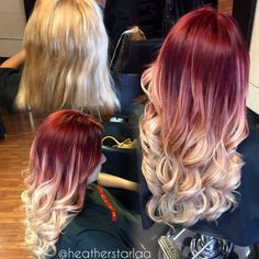 Red to ash blonde balayage ombre. Red hair. Blonde hair. Ash blonde hair. Curled hair. Long hair