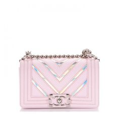 CHANEL Lambskin Iridescent PVC Chevron Quilted Small Boy Flap Light... ❤ liked on Polyvore featuring bags, handbags, shoulder bags, quilted shoulder bags, kiss-lock handbags, pink handbags, silver handbags and light pink shoulder bag