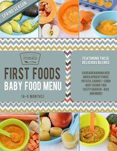 This 6-9 month baby food menu was designed for babies who have tried first purees with single ingredients and are ready for more flavor combinations.