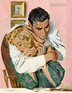 Safe in his arms...Al Parker illustration for May 1942 Ladies Home Journal.