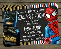 Lego Spiderman - Batman  Digital Birthday Invitation - Hero Superhero Party Digital File; You Print - printable - PYO