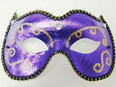 Purple Cateye Mask w/Gold & Black Trim