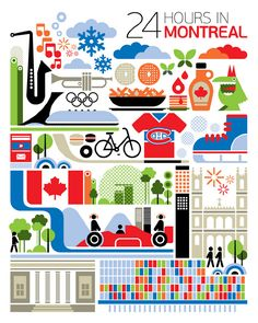 24 hours in Montreal, Canada is part of a series designed by Fernando Volken Togni for the Oryx Magazine, Qatar Airways. If you like this illustration check out India, South. Quebec Montreal, Montreal Travel, Quebec City, O Canada, Canada Travel, Canada Trip, Torre Cn, Ottawa, Toronto