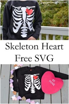 Make a fun Valentine tee shirt that's perfect for boys! It would also work for Halloween! Sewing Blogs, Sewing Tutorials, Sewing Patterns Free, Free Sewing, Halloween Shirt, Halloween Sewing, Skeleton Shirt, Heart Shirt, Valentines For Boys