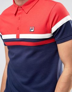 - Fila Vintage Polo Shirt With Chest Stripe Mens Polo T Shirts, Polo Tees, Golf Shirts, Boys T Shirts, Polo Design, New T Shirt Design, Shirt Designs, Camisa Polo, Casual T Shirts
