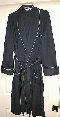 Derek Rose Shawl Collar Dressing Robe Medium Navy Blue Poka Dots EUC $400