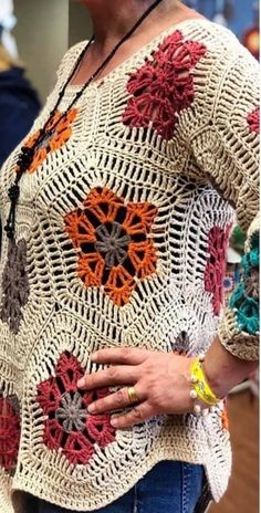 Crochet Poncho, Crochet Cardigan, Crochet Motif, Crochet Stitches, Knit Crochet, Crochet Patterns, Crochet African Flowers, Knit Fashion, Crochet Clothes