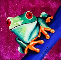 Childrens Playroom Poster Print of Climbing Tree Frog Painting for only $15.00 on #Etsy. Click here for more detail. www.etsy.com/listing/29676866/climbing-tree-frog-painting-kids-room?