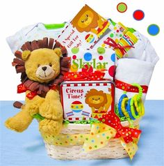 Day At The Circus Baby Gift Basket    How fun, a new baby on the way! This bright and colorful baby gift basket is a great way to welcome a new baby into the world. Our Day At The Circus Baby Gift Basket features a neutral colored lion and coordinating baby products that make this a perfect gift for a baby boy or baby girl. Also included are super chocolate chunk cookies just for the new parents!  http://littlegiftbasketboutique.com/catalog.htm?item=983_new=yes