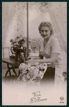 Sewing Machine Lady Original Old c1930 1940s Photo Postcard BB09 | eBay