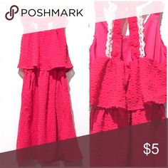 Pink Dress by 2 Hip 🐱Fuchsia Translucent Polyester with Fuchsia Slip Underneath 🐱Decorative Lace on Back 🐱Slit Pockets 🐱Used With Love  🐱Low Price! 2 Hip Dresses Casual
