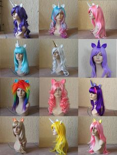 Wanna dress up as a sparkly Rainbow Dash or Pinkie Pie? If so, these My Little Pony inspired costume wigs and tails will be perfect for your cosplay event. Unicorn Costume, Costume Wigs, Cosplay Wigs, Cosplay Costumes, Halloween Cosplay, Jessie Halloween, Halloween Costumes, Unicorn Halloween, Funny Costumes