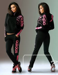 #hood #tracksuit Stylish womens black hooded tracksuit.