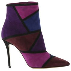 Roberto Festa Women's Maelle Patchwork Stiletto Ankle Boot ($145) ❤ liked on Polyvore featuring shoes, boots, ankle booties, purple, pointed toe booties, side zip boots, ankle boots, leather ankle booties and pointy-toe ankle boots