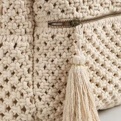 ShopStyle: Cost Plus World Market Ivory Macrame Backpack Crochet Backpack Pattern, Crochet Tote, Macrame Projects, Crochet Projects, Diy Backpack, Art Bag, Macrame Bag, Knitted Bags, Knitting Yarn